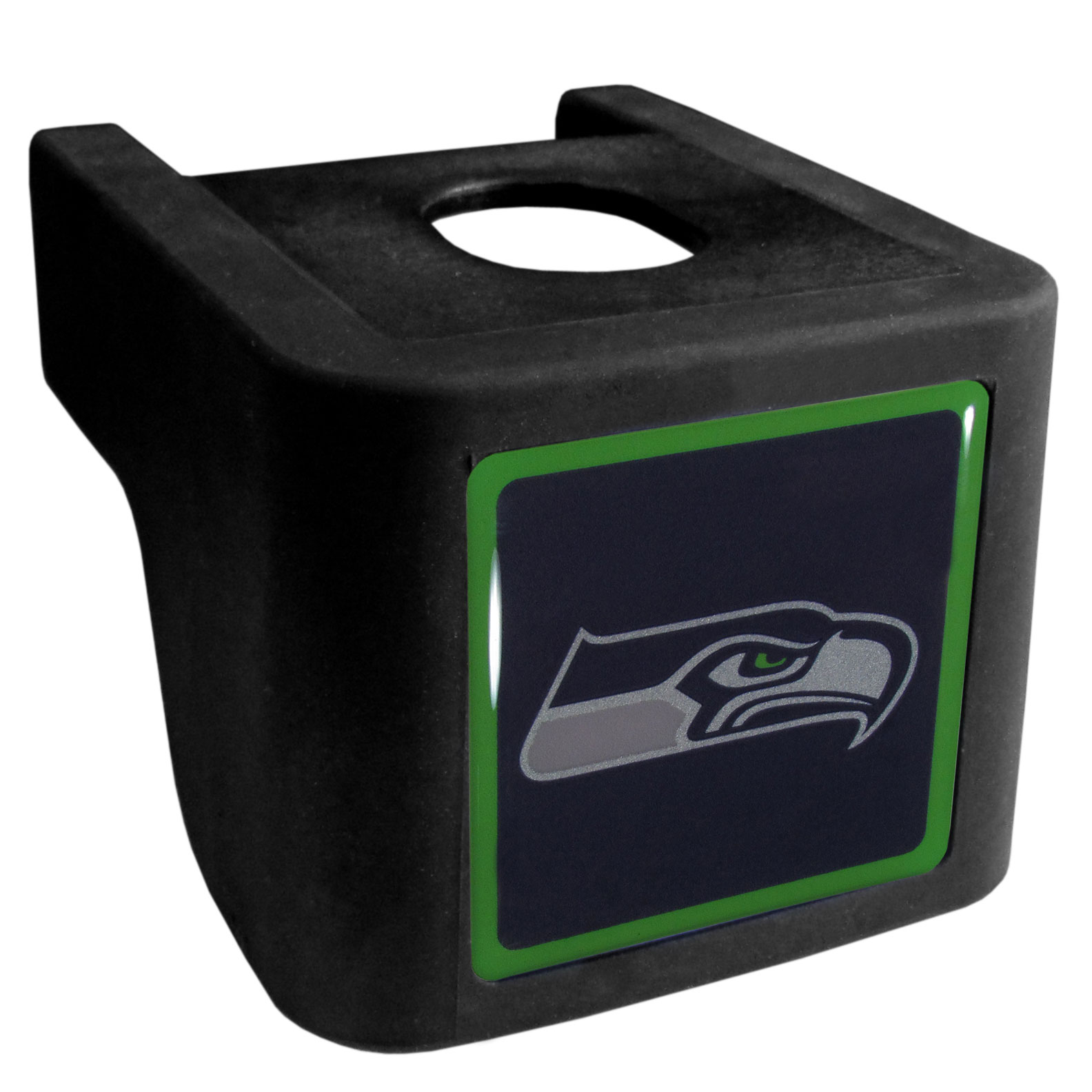 Seattle Seahawks Shin Shield Hitch Cover - This unique hitch cover features a large Seattle Seahawks logo. If you have ever hooked up a trailer or boat your have probably smashed your shins on the ball hitch a few times. This revolutionary shin shield hitch cover provides your much abused shins with the protection they deserve! The tough rubber hitch is rated to work with Class V hitch receivers hauling up to 17,000 gross trailer weight and 1,700 tongue weight allowing you to leave it on while hauling.