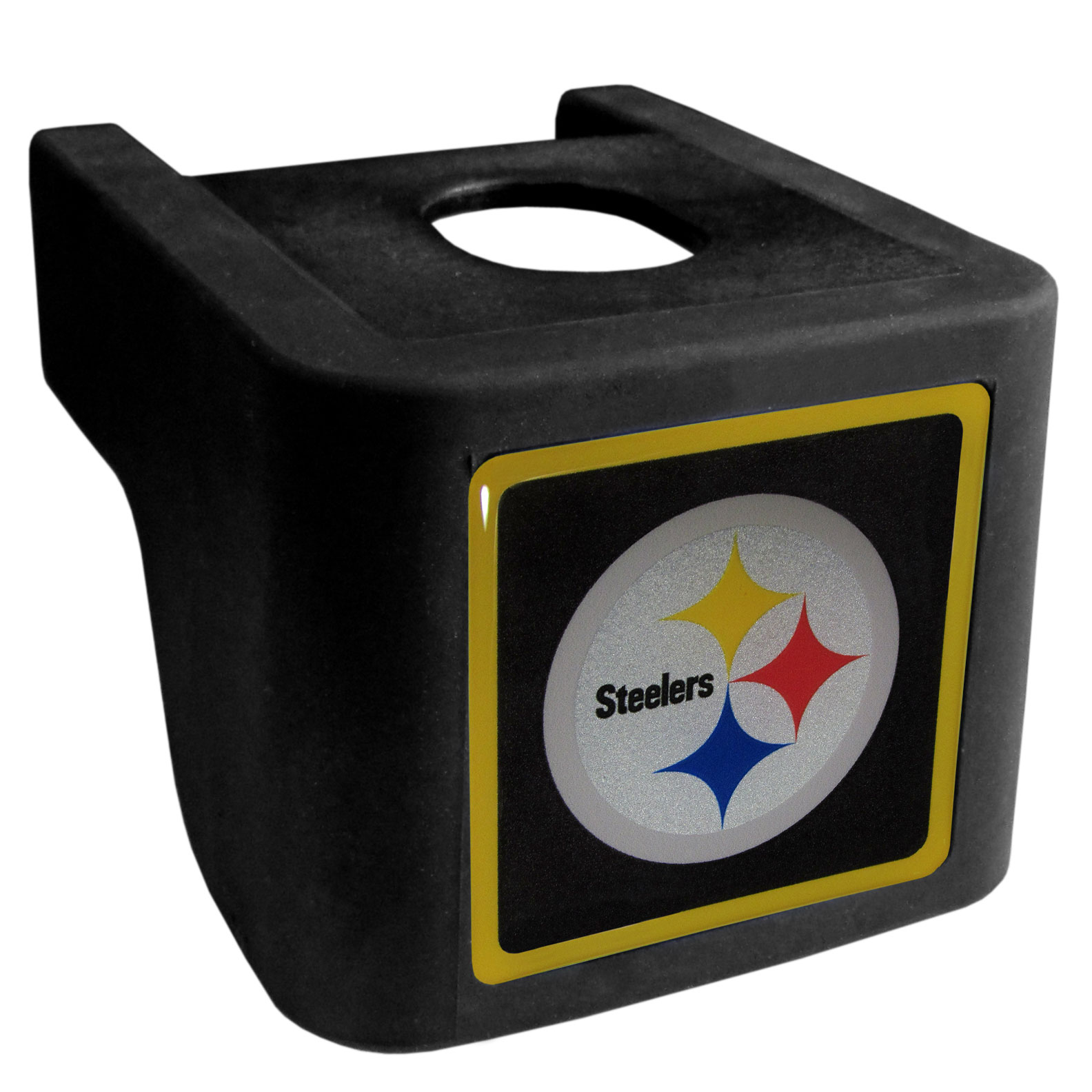 Pittsburgh Steelers Shin Shield Hitch Cover - This unique hitch cover features a large Pittsburgh Steelers logo. If you have ever hooked up a trailer or boat your have probably smashed your shins on the ball hitch a few times. This revolutionary shin shield hitch cover provides your much abused shins with the protection they deserve! The tough rubber hitch is rated to work with Class V hitch receivers hauling up to 17,000 gross trailer weight and 1,700 tongue weight allowing you to leave it on while hauling.