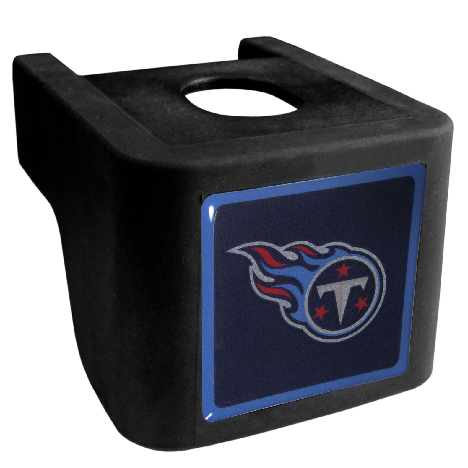 Tennessee Titans Shin Shield Hitch Cover - This unique hitch cover features a large Tennessee Titans logo. If you have ever hooked up a trailer or boat your have probably smashed your shins on the ball hitch a few times. This revolutionary shin shield hitch cover provides your much abused shins with the protection they deserve! The tough rubber hitch is rated to work with Class V hitch receivers hauling up to 17,000 gross trailer weight and 1,700 tongue weight allowing you to leave it on while hauling.