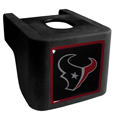 Houston Texans Shin Shield Hitch Cover - This unique NFL hitch cover features a large Houston Texans logo. If you have ever hooked up a trailer or boat your have probably smashed your shins on the ball hitch a few times. This revolutionary shin shield hitch cover provides your much abused shins with the protection they deserve! The tough rubber hitch is rated to work with Class V hitch receivers hauling up to 17,000 gross trailer weight and 1,700 tongue weight allowing you to leave it on while hauling. Officially licensed NFL product Licensee: Siskiyou Buckle .com