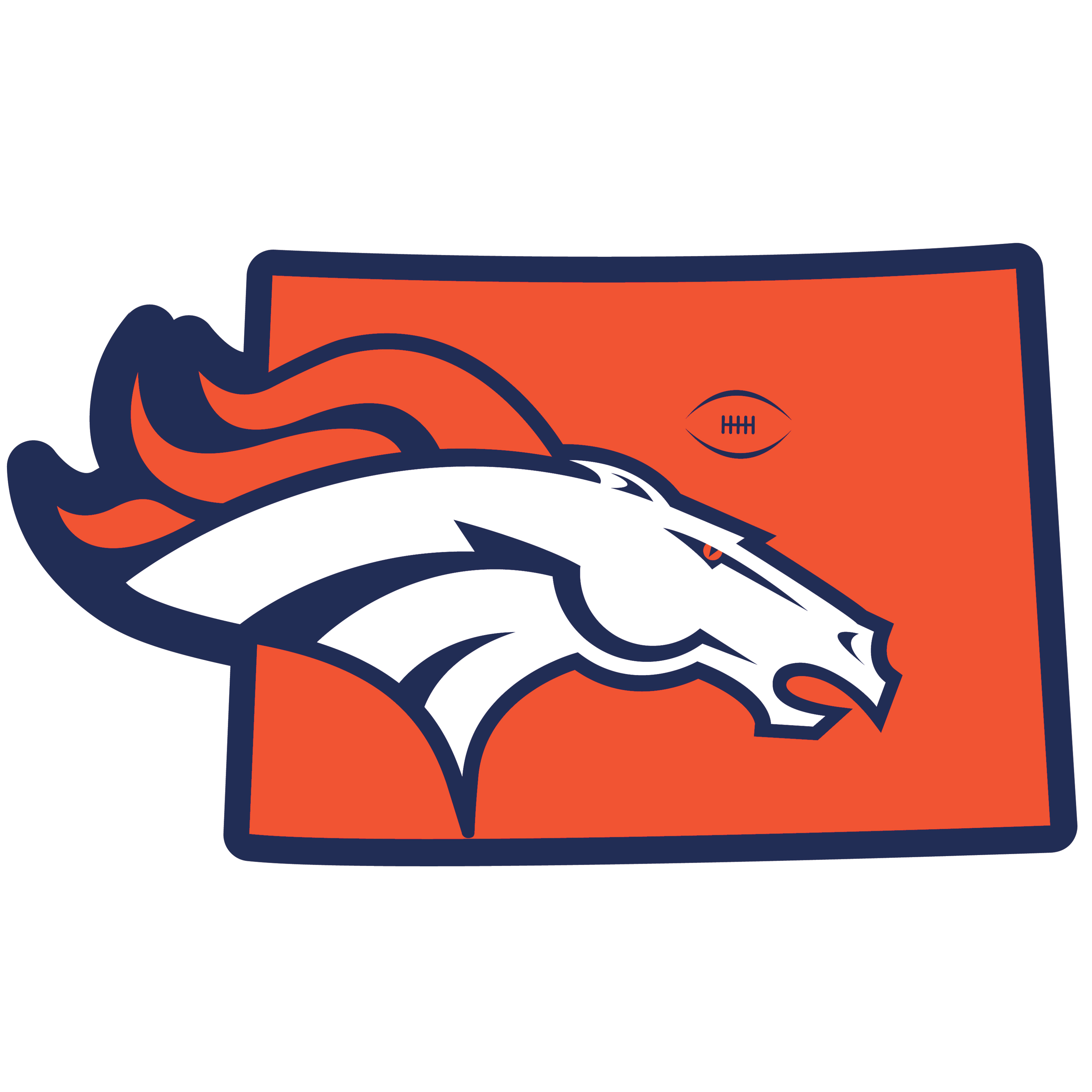 Denver Broncos Home State 11 Inch Magnet - Whether you are caravaning to the game or having a tailgate party make sure you car is wearing its fan gear with our extra large, 11 inch Denver Broncos home state magnets. These striking magnets can be easily placed on for game day and removed without the residue left by decals. The design features a bright state outline with the location of the team highlighted with a football and a large team logo.