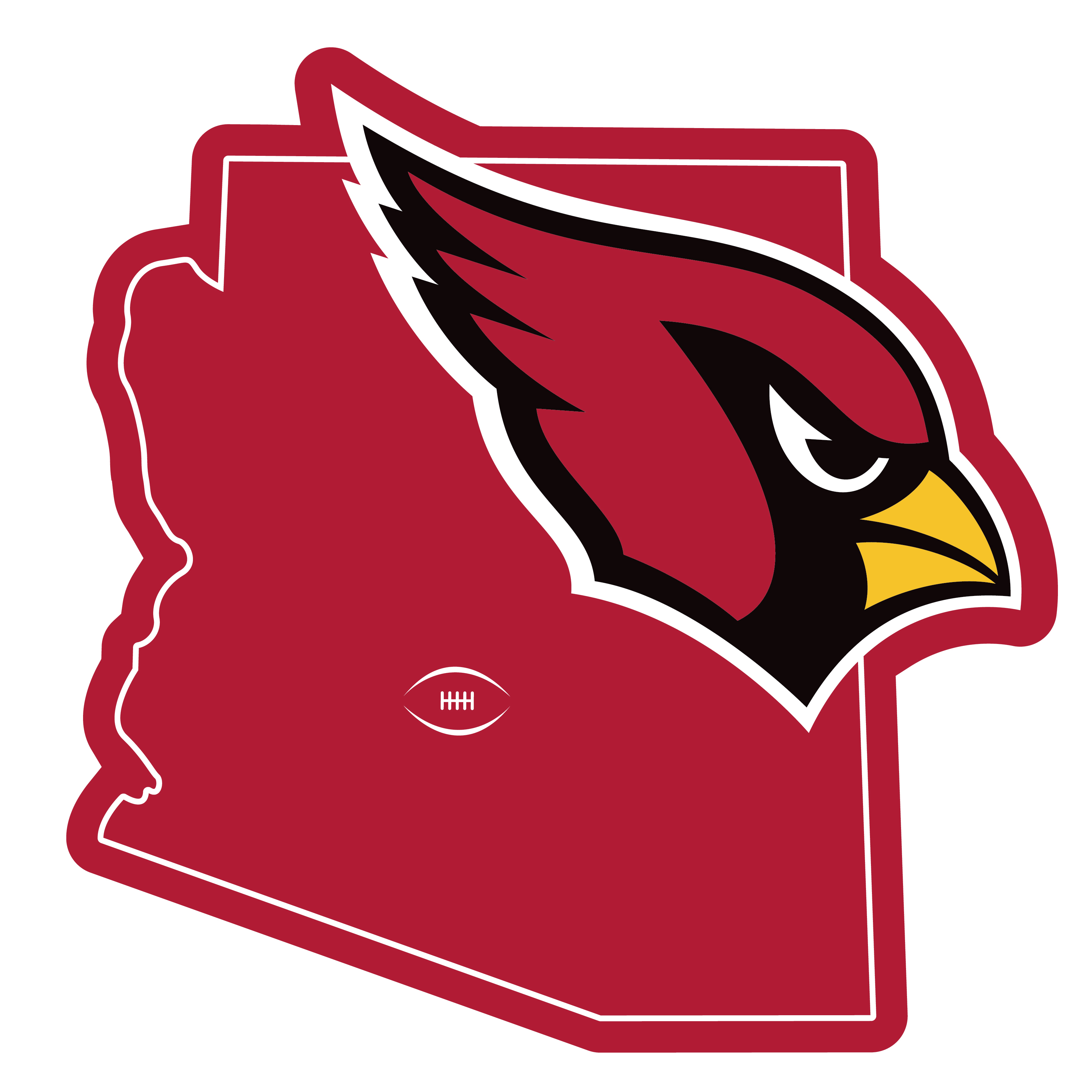 Arizona Cardinals Home State 11 Inch Magnet - Whether you are caravaning to the game or having a tailgate party make sure you car is wearing its fan gear with our extra large, 11 inch Arizona Cardinals home state magnets. These striking magnets can be easily placed on for game day and removed without he residue left by decals. The design features a bright state outline with the location of the team highlighted with a football and a large team logo.