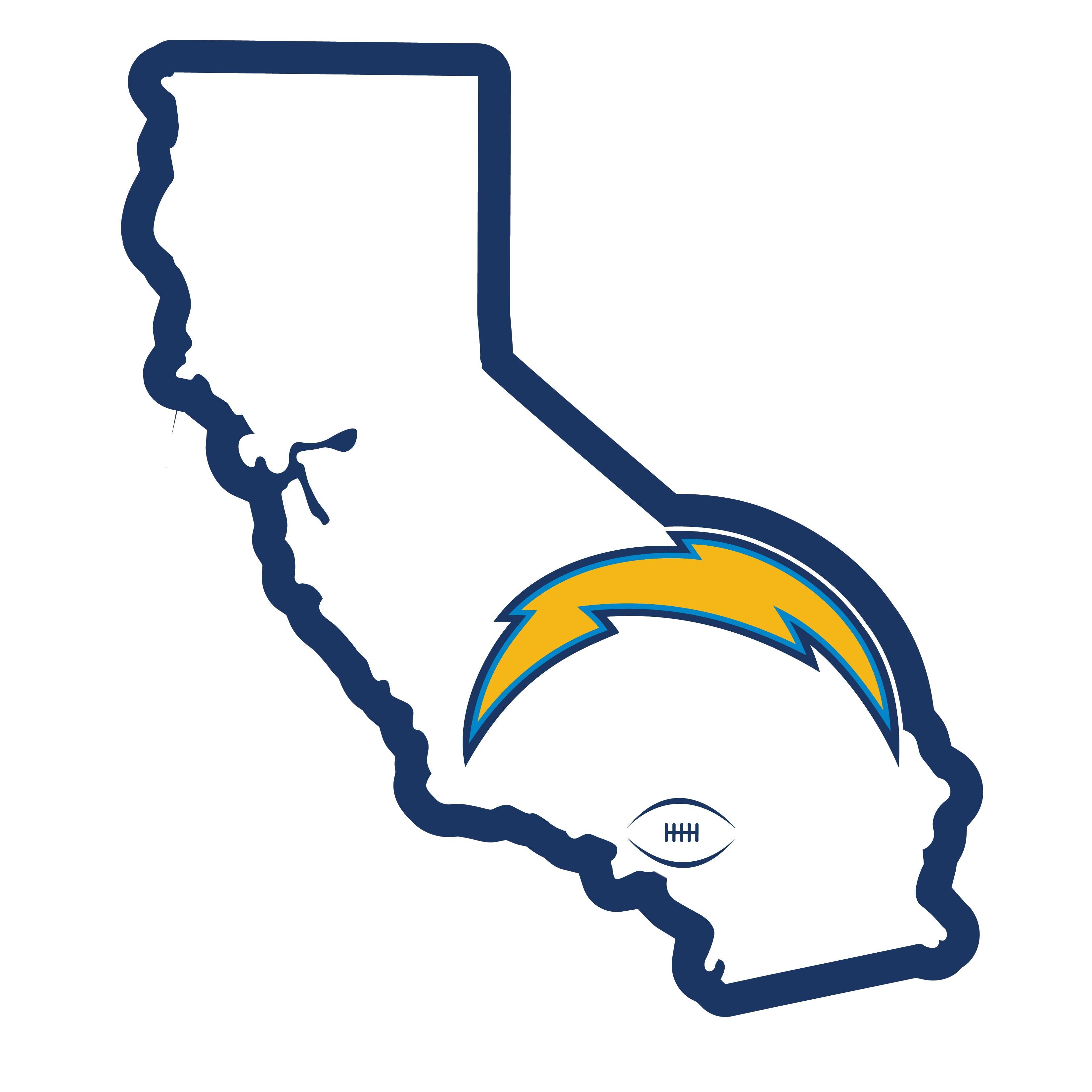 Los Angeles Chargers Home State 11 Inch Magnet - Whether you are caravaning to the game or having a tailgate party make sure you car is wearing its fan gear with our extra large, 11 inch Los Angeles Chargers home state magnets. These striking magnets can be easily placed on for game day and removed without he residue left by decals. The design features a bright state outline with the location of the team highlighted with a football and a large team logo.