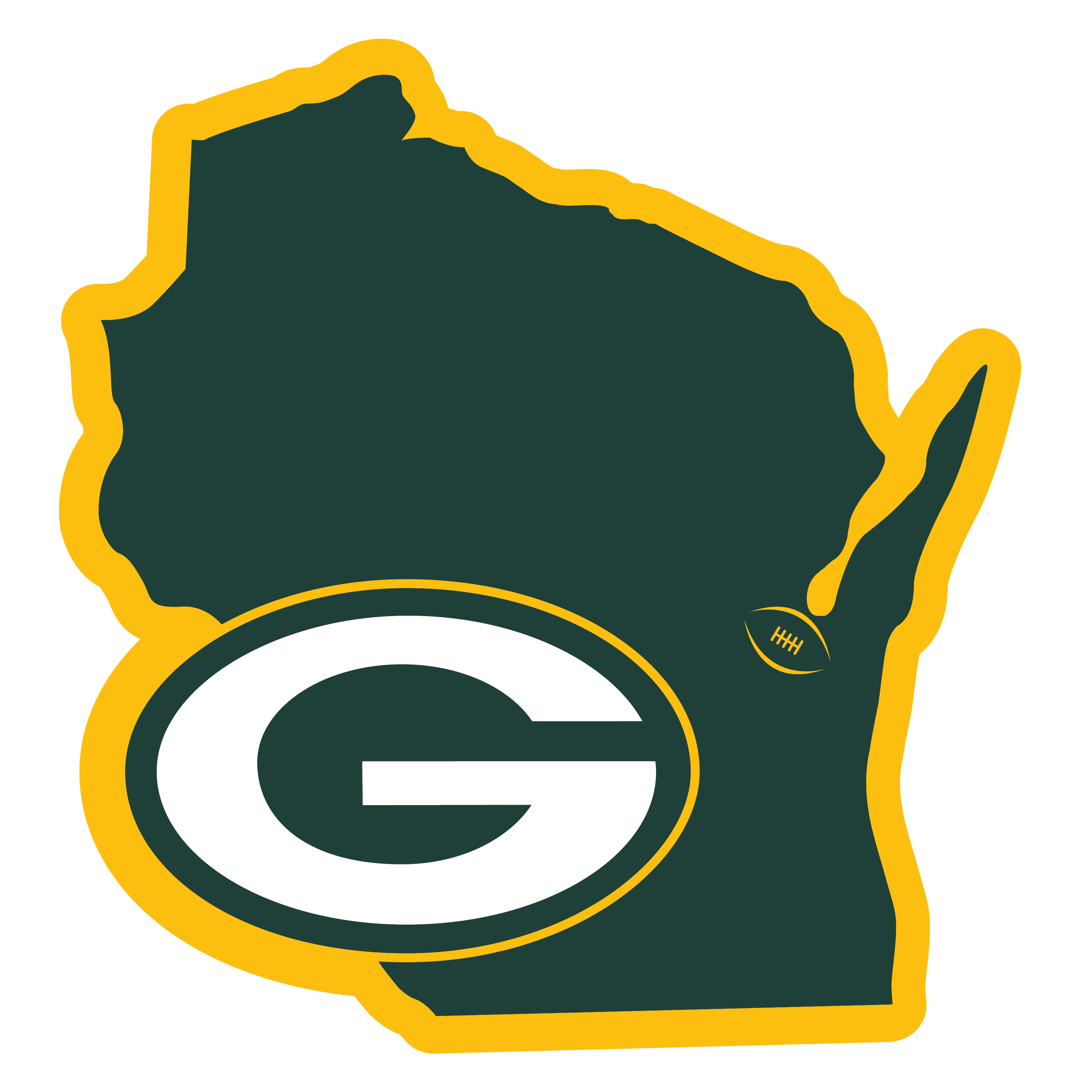 Green Bay Packers Home State 11 Inch Magnet - Whether you are caravaning to the game or having a tailgate party make sure you car is wearing its fan gear with our extra large, 11 inch Green Bay Packers home state magnets. These striking magnets can be easily placed on for game day and removed without the residue left by decals. The design features a bright state outline with the location of the team highlighted with a football and a large team logo.