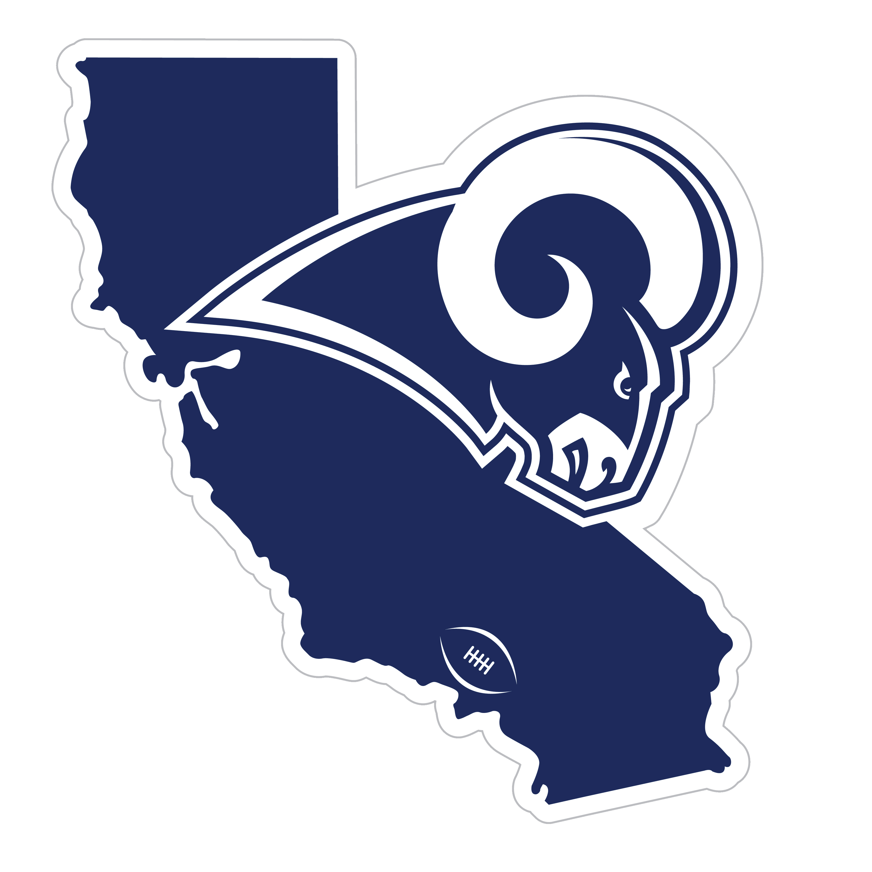 Los Angeles Rams Home State 11 Inch Magnet - Whether you are caravaning to the game or having a tailgate party make sure you car is wearing its fan gear with our extra large, 11 inch Los Angeles Rams home state magnets. These striking magnets can be easily placed on for game day and removed without he residue left by decals. The design features a bright state outline with the location of the team highlighted with a football and a large team logo.