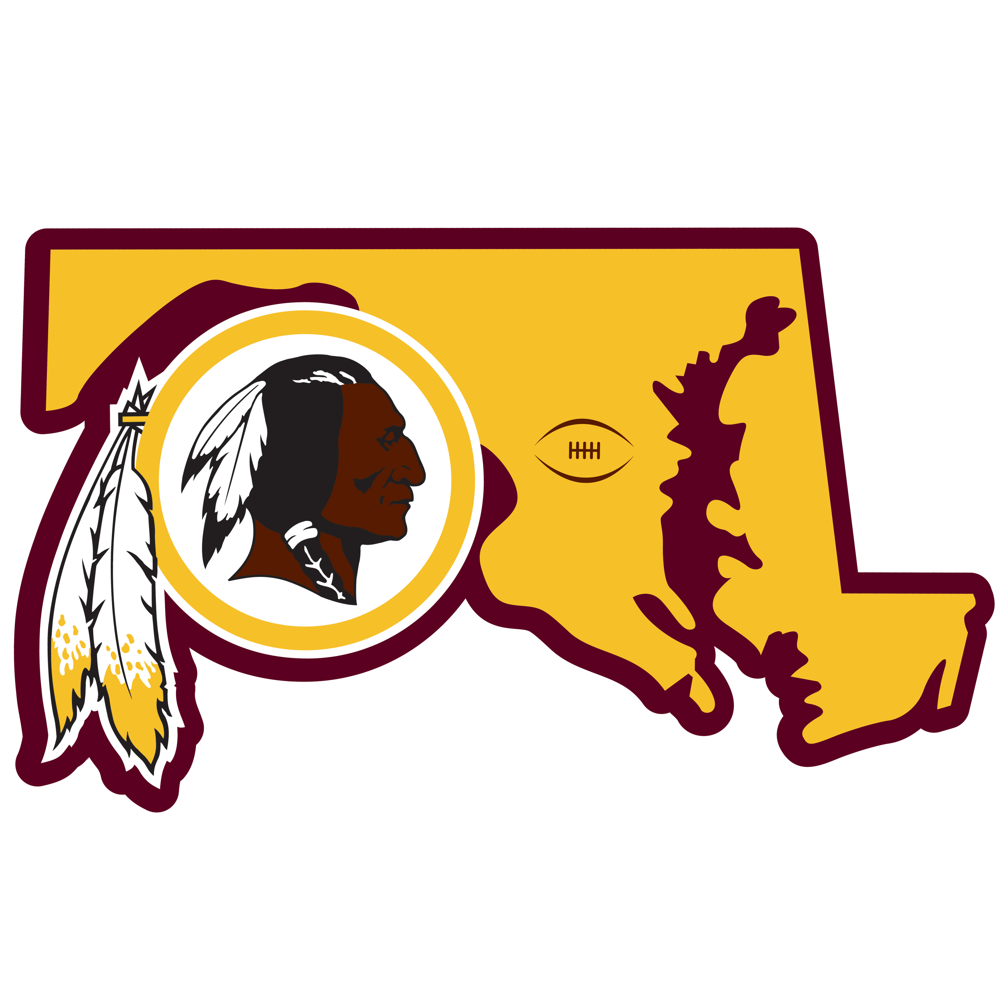 Washington Redskins Home State 11 Inch Magnet - Whether you are caravaning to the game or having a tailgate party make sure you car is wearing its fan gear with our extra large, 11 inch Washington Redskins home state magnets. These striking magnets can be easily placed on for game day and removed without he residue left by decals. The design features a bright state outline with the location of the team highlighted with a football and a large team logo.