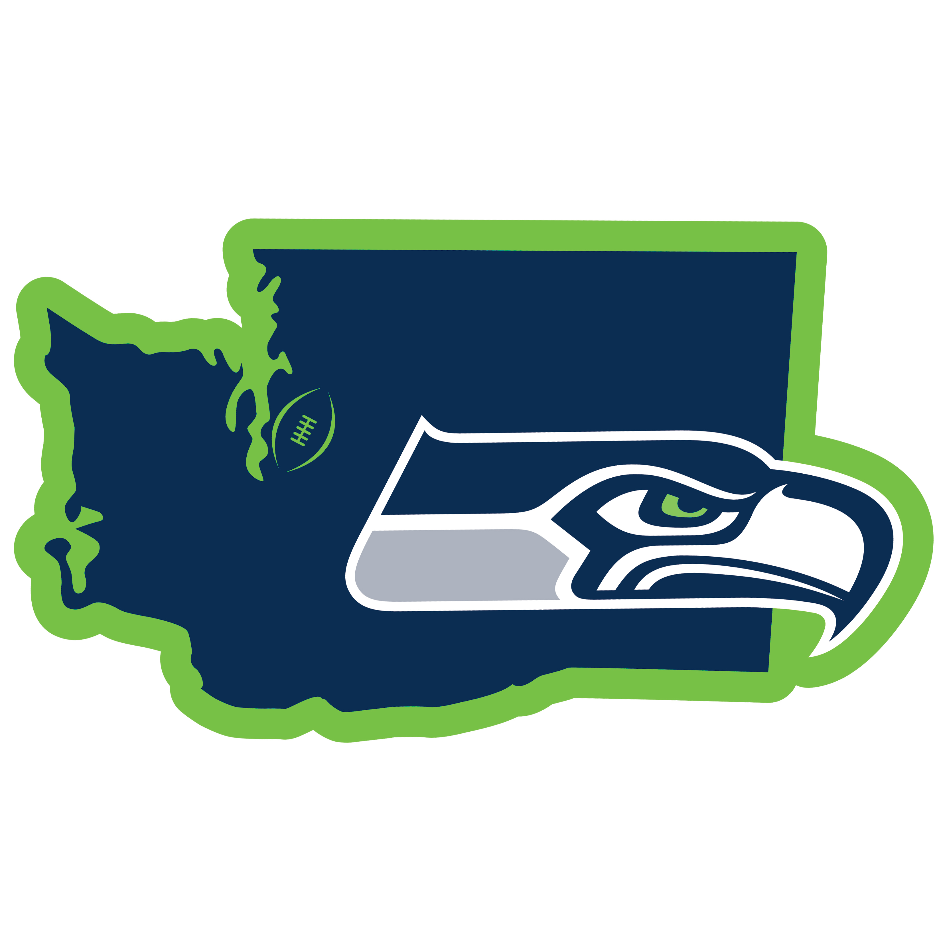 Seattle Seahawks Home State 11 Inch Magnet - Whether you are caravaning to the game or having a tailgate party make sure you car is wearing its fan gear with our extra large, 11 inch Seattle Seahawks home state magnets. These striking magnets can be easily placed on for game day and removed without the residue left by decals. The design features a bright state outline with the location of the team highlighted with a football and a large team logo.