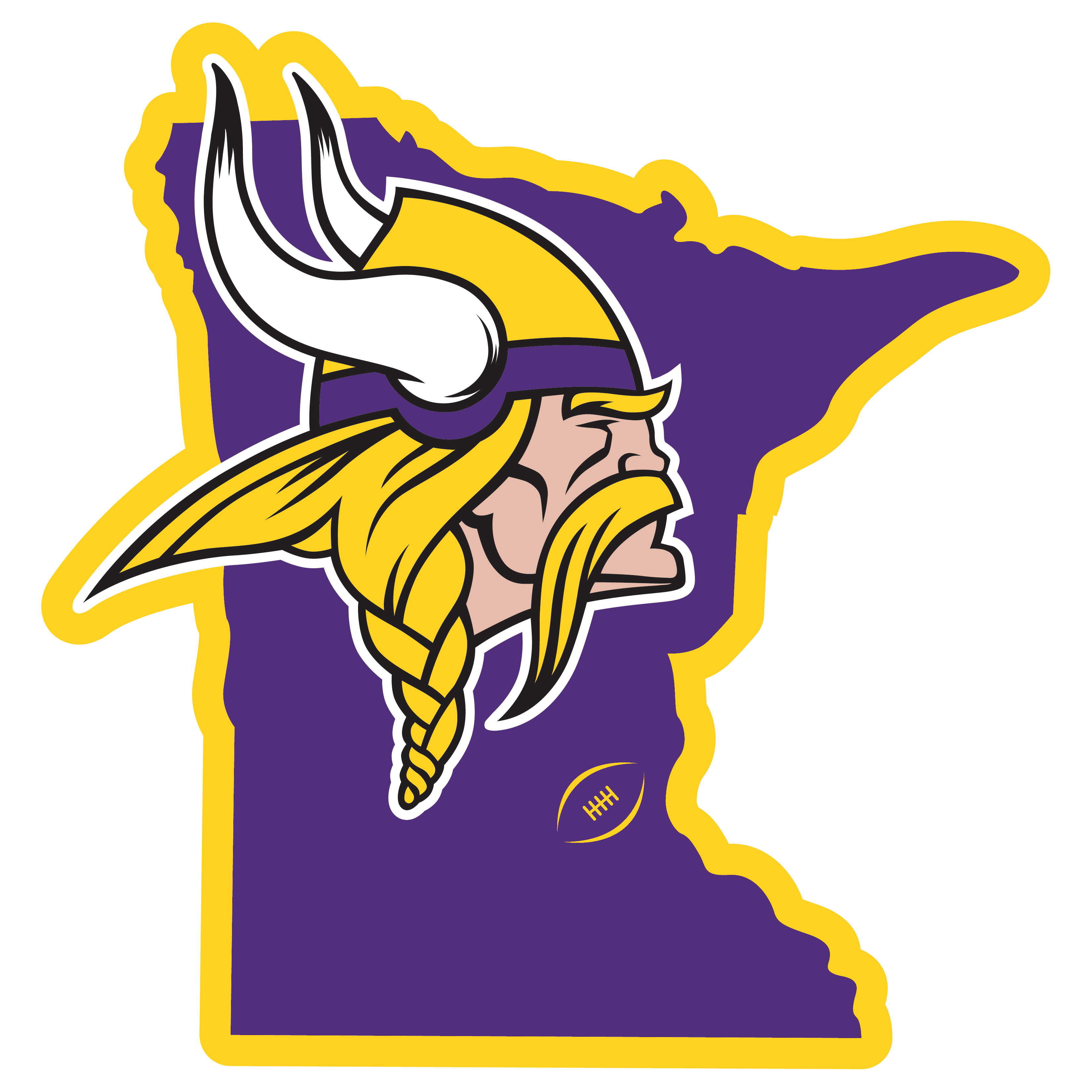 Minnesota Vikings Home State 11 Inch Magnet - Whether you are caravaning to the game or having a tailgate party make sure you car is wearing its fan gear with our extra large, 11 inch Minnesota Vikings home state magnets. These striking magnets can be easily placed on for game day and removed without the residue left by decals. The design features a bright state outline with the location of the team highlighted with a football and a large team logo.