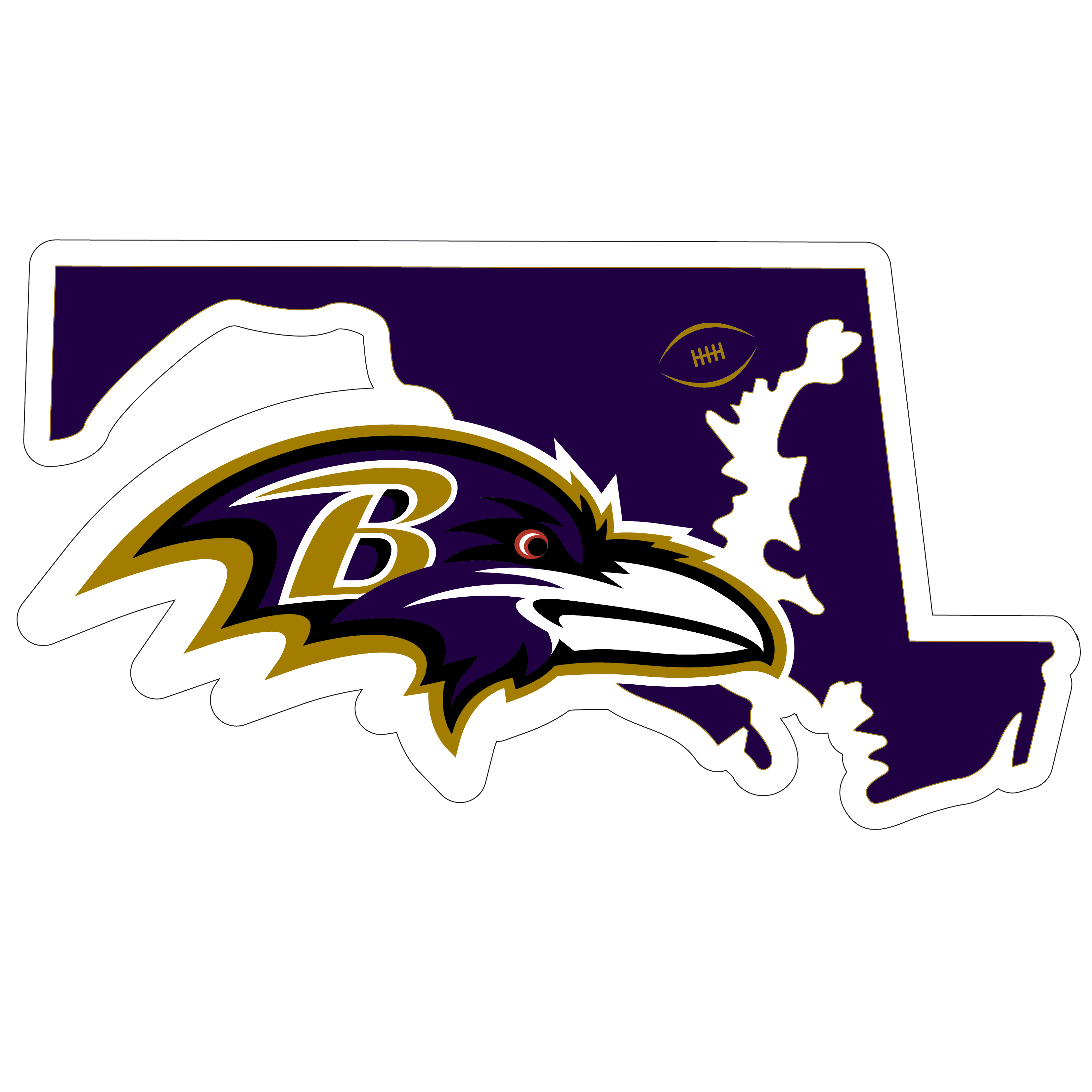 Baltimore Ravens Home State 11 Inch Magnet - Whether you are caravaning to the game or having a tailgate party make sure you car is wearing its fan gear with our extra large, 11 inch Baltimore Ravens home state magnets. These striking magnets can be easily placed on for game day and removed without the residue left by decals. The design features a bright state outline with the location of the team highlighted with a football and a large team logo.