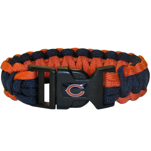 Chicago Bears Suvivor Bracelet - Our functional and fashionable survivor bracelets contain 2, 350lb test paracord rated cords that are each 5 feet long. The team colored cords can be pulled apart to be used in any number of emergencies and look great while worn. The bracelet features a team emblem on the clasp.  Officially licensed NFL product Licensee: Siskiyou Buckle .com