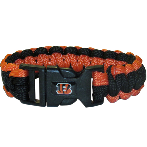 Cincinnati Bengals Suvivor Bracelet - Our functional and fashionable survivor bracelets contain 2, 350lb test paracord rated cords that are each 5 feet long. The team colored cords can be pulled apart to be used in any number of emergencies and look great while worn. The bracelet features a team emblem on the clasp.  Officially licensed NFL product Licensee: Siskiyou Buckle .com