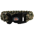 Cincinnati Bengals Camo Survivor Bracelet - Our functional and fashionable Cincinnati Bengals camo survivor bracelets contain 2 individual 300lb test paracord rated cords that are each 5 feet long. The camo cords can be pulled apart to be used in any number of emergencies and look great while worn. The bracelet features a team emblem on the clasp.  Officially licensed NFL product Licensee: Siskiyou Buckle .com