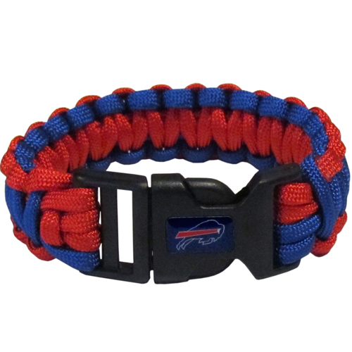 Buffalo Bills Suvivor Bracelet - Our functional and fashionable survivor bracelets contain 2, 350lb test paracord rated cords that are each 5 feet long. The team colored cords can be pulled apart to be used in any number of emergencies and look great while worn. The bracelet features a team emblem on the clasp.  Officially licensed NFL product Licensee: Siskiyou Buckle .com