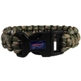 Buffalo Bills Camo Survivor Bracelet - Our functional and fashionable Buffalo Bills camo survivor bracelets contain 2 individual 300lb test paracord rated cords that are each 5 feet long. The camo cords can be pulled apart to be used in any number of emergencies and look great while worn. The bracelet features a team emblem on the clasp.  Officially licensed NFL product Licensee: Siskiyou Buckle .com