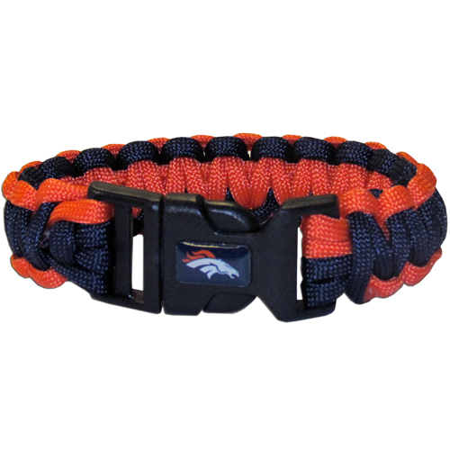 Denver Broncos Suvivor Bracelet - Our functional and fashionable survivor bracelets contain 2, 350lb test paracord rated cords that are each 5 feet long. The team colored cords can be pulled apart to be used in any number of emergencies and look great while worn. The bracelet features a team emblem on the clasp.  Officially licensed NFL product Licensee: Siskiyou Buckle Thank you for visiting CrazedOutSports.com