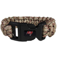 Tampa Bay Buccaneers Camo Survivor Bracelet - Our functional and fashionable Tampa Bay Buccaneers camo survivor bracelets contain 2 individual 300lb test paracord rated cords that are each 5 feet long. The camo cords can be pulled apart to be used in any number of emergencies and look great while worn. The bracelet features a team emblem on the clasp.  Officially licensed NFL product Licensee: Siskiyou Buckle .com