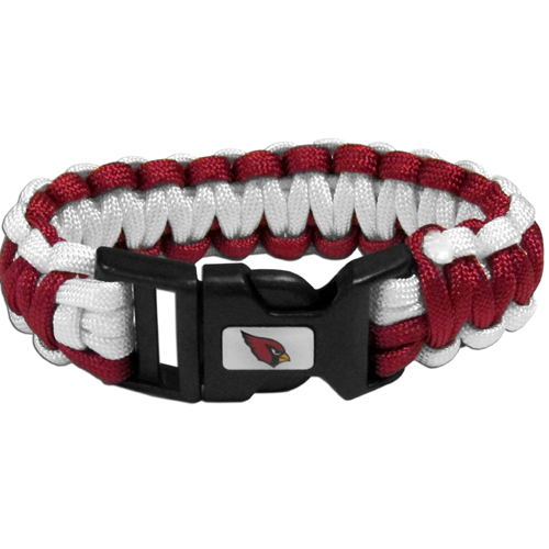 Arizona Cardinals Suvivor Bracelet - Our functional and fashionable survivor bracelets contain 2, 350lb test paracord rated cords that are each 5 feet long. The team colored cords can be pulled apart to be used in any number of emergencies and look great while worn. The bracelet features a team emblem on the clasp.  Officially licensed NFL product Licensee: Siskiyou Buckle .com