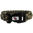Arizona Cardinals Camo Survivor Bracelet - Our functional and fashionable Arizona Cardinals camo survivor bracelets contain 2 individual 300lb test paracord rated cords that are each 5 feet long. The camo cords can be pulled apart to be used in any number of emergencies and look great while worn. The bracelet features a team emblem on the clasp.  Officially licensed NFL product Licensee: Siskiyou Buckle .com