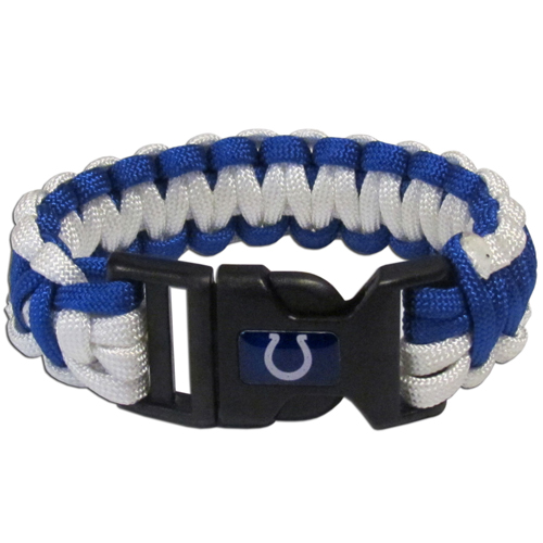 Indianapolis Colts Suvivor Bracelet - Our functional and fashionable survivor bracelets contain 2, 350lb test paracord rated cords that are each 5 feet long. The team colored cords can be pulled apart to be used in any number of emergencies and look great while worn. The bracelet features a team emblem on the clasp.  Officially licensed NFL product Licensee: Siskiyou Buckle Thank you for visiting CrazedOutSports.com