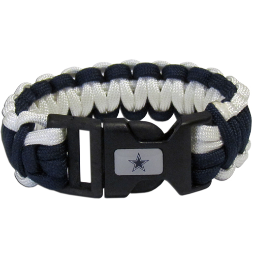 Dallas Cowboys Suvivor Bracelet - Our functional and fashionable survivor bracelets contain 2, 350lb test paracord rated cords that are each 5 feet long. The team colored cords can be pulled apart to be used in any number of emergencies and look great while worn. The bracelet features a team emblem on the clasp.  Officially licensed NFL product Licensee: Siskiyou Buckle .com