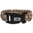 Dallas Cowboys Camo Survivor Bracelet - Our functional and fashionable Dallas Cowboys camo survivor bracelets contain 2 individual 300lb test paracord rated cords that are each 5 feet long. The camo cords can be pulled apart to be used in any number of emergencies and look great while worn. The bracelet features a team emblem on the clasp.  Officially licensed NFL product Licensee: Siskiyou Buckle .com