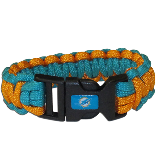 Miami Dolphins Suvivor Bracelet - Our functional and fashionable survivor bracelets contain 2, 350lb test paracord rated cords that are each 5 feet long. The team colored cords can be pulled apart to be used in any number of emergencies and look great while worn. The bracelet features a team emblem on the clasp.  Officially licensed NFL product Licensee: Siskiyou Buckle .com