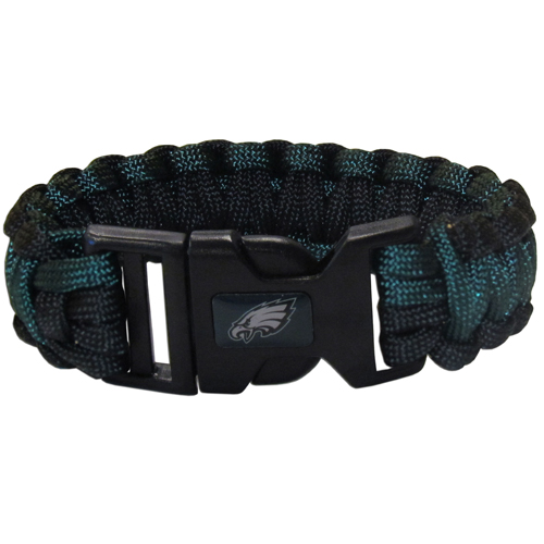 Philadelphia Eagles Suvivor Bracelet - Our functional and fashionable survivor bracelets contain 2, 350lb test paracord rated cords that are each 5 feet long. The team colored cords can be pulled apart to be used in any number of emergencies and look great while worn. The bracelet features a team emblem on the clasp.  Officially licensed NFL product Licensee: Siskiyou Buckle .com