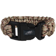 Philadelphia Eagles Camo Survivor Bracelet - Our functional and fashionable Philadelphia Eagles camo survivor bracelets contain 2 individual 300lb test paracord rated cords that are each 5 feet long. The camo cords can be pulled apart to be used in any number of emergencies and look great while worn. The bracelet features a team emblem on the clasp.  Officially licensed NFL product Licensee: Siskiyou Buckle .com