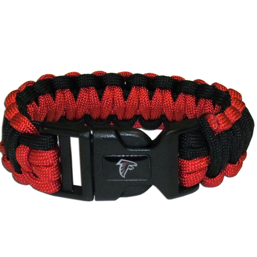 Atlanta Falcons Suvivor Bracelet - Our functional and fashionable survivor bracelets contain 2, 350lb test paracord rated cords that are each 5 feet long. The team colored cords can be pulled apart to be used in any number of emergencies and look great while worn. The bracelet features a team emblem on the clasp.  Officially licensed NFL product Licensee: Siskiyou Buckle .com