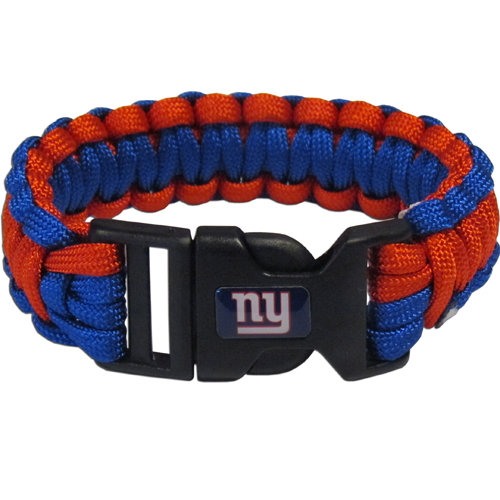 New York Giants Suvivor Bracelet - Our functional and fashionable survivor bracelets contain 2, 350lb test paracord rated cords that are each 5 feet long. The team colored cords can be pulled apart to be used in any number of emergencies and look great while worn. The bracelet features a team emblem on the clasp.  Officially licensed NFL product Licensee: Siskiyou Buckle .com