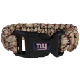 New York Giants Camo Survivor Bracelet - Our functional and fashionable New York Giants camo survivor bracelets contain 2 individual 300lb test paracord rated cords that are each 5 feet long. The camo cords can be pulled apart to be used in any number of emergencies and look great while worn. The bracelet features a team emblem on the clasp.  Officially licensed NFL product Licensee: Siskiyou Buckle .com