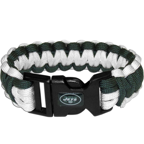 New York Jets Suvivor Bracelet - Our functional and fashionable survivor bracelets contain 2, 350lb test paracord rated cords that are each 5 feet long. The team colored cords can be pulled apart to be used in any number of emergencies and look great while worn. The bracelet features a team emblem on the clasp.  Officially licensed NFL product Licensee: Siskiyou Buckle Thank you for visiting CrazedOutSports.com