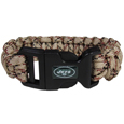 New York Jets Camo Survivor Bracelet - Our functional and fashionable New York Jets camo survivor bracelets contain 2 individual 300lb test paracord rated cords that are each 5 feet long. The camo cords can be pulled apart to be used in any number of emergencies and look great while worn. The bracelet features a team emblem on the clasp.  Officially licensed NFL product Licensee: Siskiyou Buckle .com