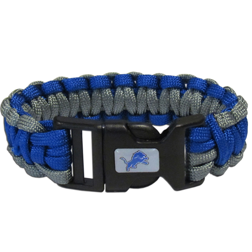 Detroit Lions Suvivor Bracelet - Our functional and fashionable survivor bracelets contain 2, 350lb test paracord rated cords that are each 5 feet long. The team colored cords can be pulled apart to be used in any number of emergencies and look great while worn. The bracelet features a team emblem on the clasp.  Officially licensed NFL product Licensee: Siskiyou Buckle .com