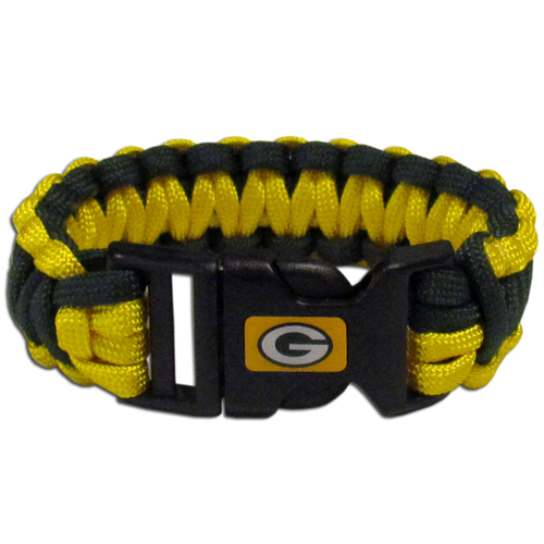 Green Bay Packers Suvivor Bracelet - Our functional and fashionable survivor bracelets contain 2, 350lb test paracord rated cords that are each 5 feet long. The team colored cords can be pulled apart to be used in any number of emergencies and look great while worn. The bracelet features a team emblem on the clasp.  Officially licensed NFL product Licensee: Siskiyou Buckle .com