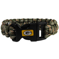 Green Bay Packers Camo Survivor Bracelet - Our functional and fashionable Green Bay Packers camo survivor bracelets contain 2 individual 300lb test paracord rated cords that are each 5 feet long. The camo cords can be pulled apart to be used in any number of emergencies and look great while worn. The bracelet features a team emblem on the clasp.  Officially licensed NFL product Licensee: Siskiyou Buckle .com