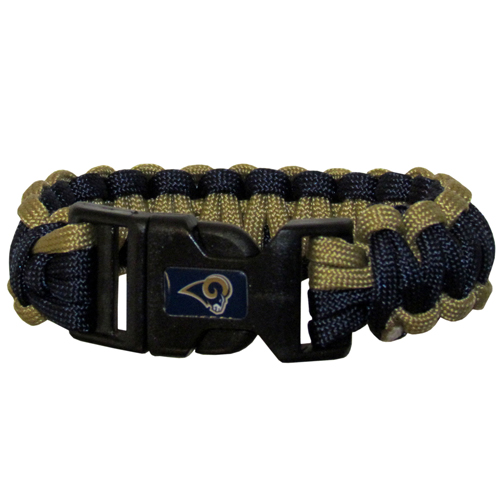 St. Louis Rams Suvivor Bracelet - Our functional and fashionable survivor bracelets contain 2, 350lb test paracord rated cords that are each 5 feet long. The team colored cords can be pulled apart to be used in any number of emergencies and look great while worn. The bracelet features a team emblem on the clasp.  Officially licensed NFL product Licensee: Siskiyou Buckle .com
