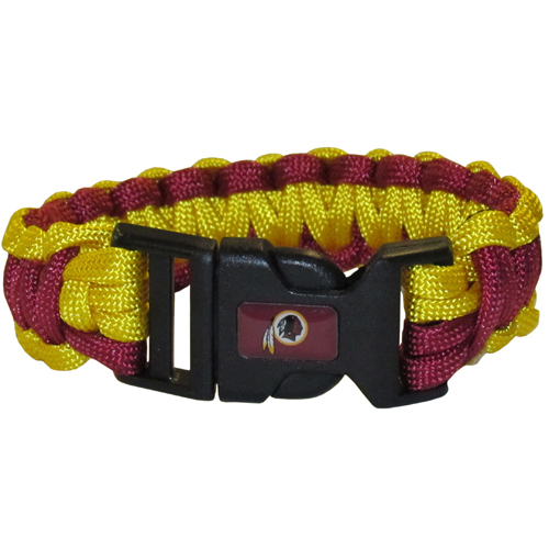 Washington Redskins Suvivor Bracelet - Our functional and fashionable survivor bracelets contain 2, 350lb test paracord rated cords that are each 5 feet long. The team colored cords can be pulled apart to be used in any number of emergencies and look great while worn. The bracelet features a team emblem on the clasp.  Officially licensed NFL product Licensee: Siskiyou Buckle Thank you for visiting CrazedOutSports.com