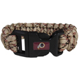Washington Redskins Camo Survivor Bracelet - Our functional and fashionable Washington Redskins camo survivor bracelets contain 2 individual 300lb test paracord rated cords that are each 5 feet long. The camo cords can be pulled apart to be used in any number of emergencies and look great while worn. The bracelet features a team emblem on the clasp.  Officially licensed NFL product Licensee: Siskiyou Buckle Thank you for visiting CrazedOutSports.com