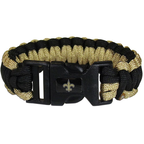 New Orleans Saints Suvivor Bracelet - Our functional and fashionable survivor bracelets contain 2, 350lb test paracord rated cords that are each 5 feet long. The team colored cords can be pulled apart to be used in any number of emergencies and look great while worn. The bracelet features a team emblem on the clasp.  Officially licensed NFL product Licensee: Siskiyou Buckle .com