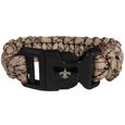 New Orleans Saints Camo Survivor Bracelet - Our functional and fashionable New Orleans Saints camo survivor bracelets contain 2 individual 300lb test paracord rated cords that are each 5 feet long. The camo cords can be pulled apart to be used in any number of emergencies and look great while worn. The bracelet features a team emblem on the clasp.  Officially licensed NFL product Licensee: Siskiyou Buckle Thank you for visiting CrazedOutSports.com