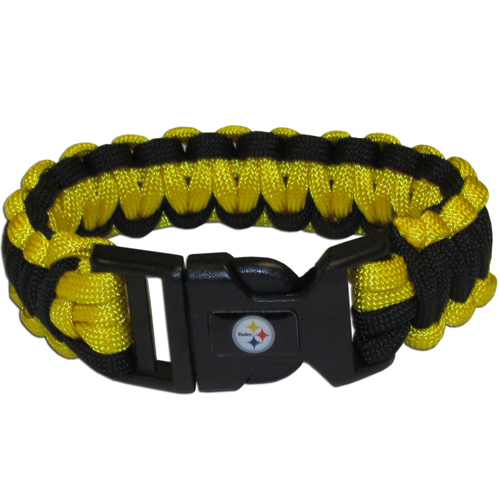 Pittsburgh Steelers Suvivor Bracelet - Our functional and fashionable survivor bracelets contain 2, 350lb test paracord rated cords that are each 5 feet long. The team colored cords can be pulled apart to be used in any number of emergencies and look great while worn. The bracelet features a team emblem on the clasp.  Officially licensed NFL product Licensee: Siskiyou Buckle .com