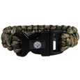 Pittsburgh Steelers Camo Survivor Bracelet - Our functional and fashionable Pittsburgh Steelers camo survivor bracelets contain 2 individual 300lb test paracord rated cords that are each 5 feet long. The camo cords can be pulled apart to be used in any number of emergencies and look great while worn. The bracelet features a team emblem on the clasp.  Officially licensed NFL product Licensee: Siskiyou Buckle .com