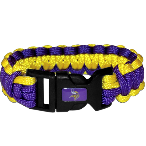 Minnesota Vikings Suvivor Bracelet - Our functional and fashionable survivor bracelets contain 2, 350lb test paracord rated cords that are each 5 feet long. The team colored cords can be pulled apart to be used in any number of emergencies and look great while worn. The bracelet features a team emblem on the clasp.  Officially licensed NFL product Licensee: Siskiyou Buckle Thank you for visiting CrazedOutSports.com