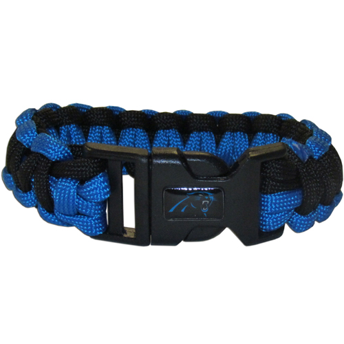 Carolina Panthers Suvivor Bracelet - Our functional and fashionable survivor bracelets contain 2, 350lb test paracord rated cords that are each 5 feet long. The team colored cords can be pulled apart to be used in any number of emergencies and look great while worn. The bracelet features a team emblem on the clasp.  Officially licensed NFL product Licensee: Siskiyou Buckle Thank you for visiting CrazedOutSports.com