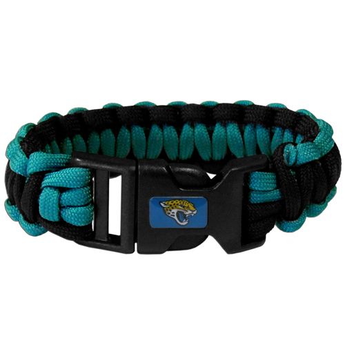 Jacksonville Jaguars Suvivor Bracelet - Our functional and fashionable survivor bracelets contain 2, 350lb test paracord rated cords that are each 5 feet long. The team colored cords can be pulled apart to be used in any number of emergencies and look great while worn. The bracelet features a team emblem on the clasp.  Officially licensed NFL product Licensee: Siskiyou Buckle Thank you for visiting CrazedOutSports.com