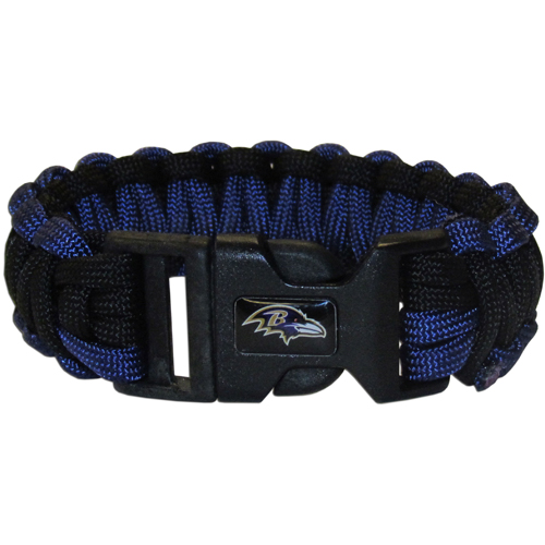 Baltimore Ravens Suvivor Bracelet - Our functional and fashionable survivor bracelets contain 2, 350lb test paracord rated cords that are each 5 feet long. The team colored cords can be pulled apart to be used in any number of emergencies and look great while worn. The bracelet features a team emblem on the clasp.  Officially licensed NFL product Licensee: Siskiyou Buckle .com