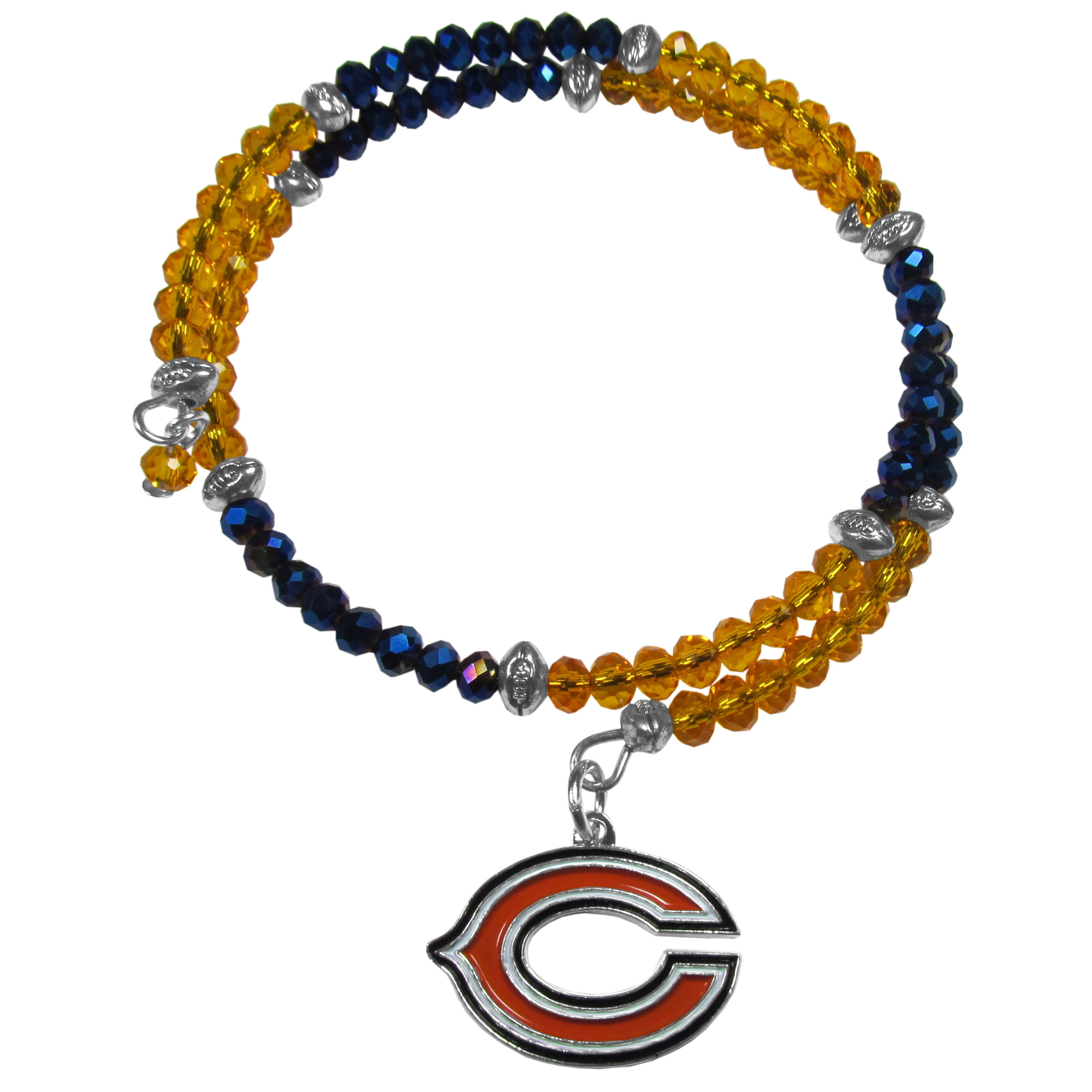Chicago Bears Crystal Memory Wire Bracelet - Our Chicago Bears memory wire crystal bracelet is trendy way to show off your love of the game. The double wrap bracelet is completely covered in 4 mm crystals that are broken up with adorable football beads creating a designer look with a sporty twist. The bracelet features a fully cast, metal team charm that has expertly enameled team colors. This fashion jewelry piece is a must-have for the die-hard fan that chic look that can dress up any outfit.