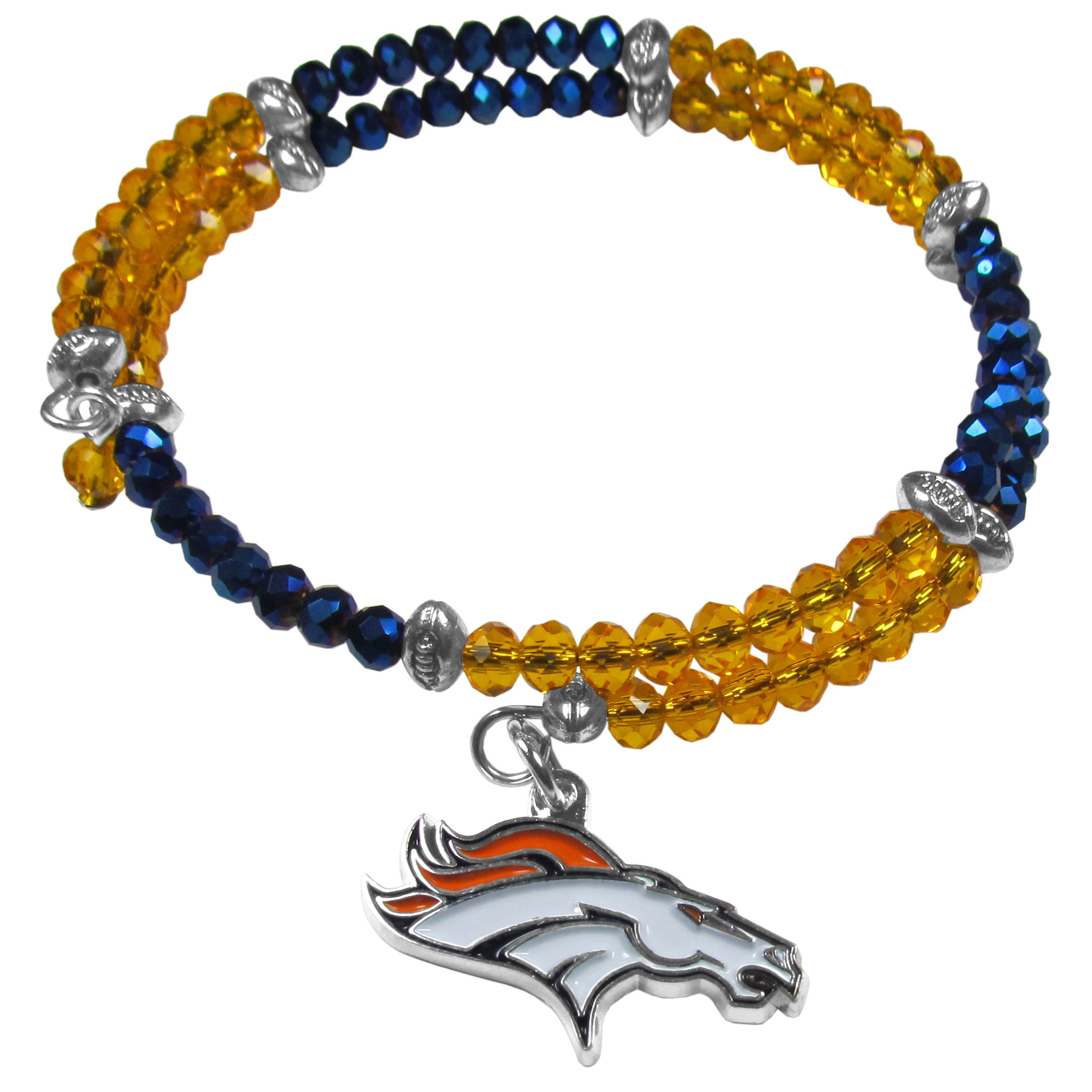 Denver Broncos Crystal Memory Wire Bracelet - Our Denver Broncos memory wire crystal bracelet is trendy way to show off your love of the game. The double wrap bracelet is completely covered in 4 mm crystals that are broken up with adorable football beads creating a designer look with a sporty twist. The bracelet features a fully cast, metal team charm that has expertly enameled team colors. This fashion jewelry piece is a must-have for the die-hard fan with chic style.
