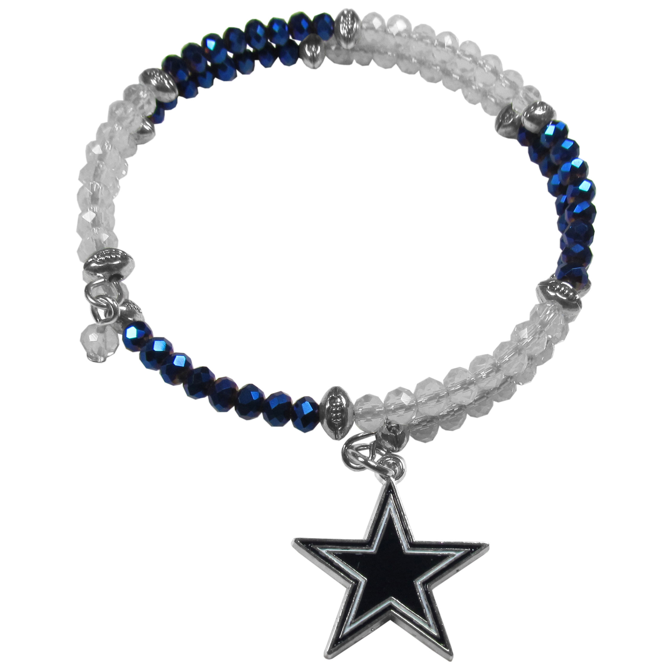 Dallas Cowboys Crystal Memory Wire Bracelet - Our Dallas Cowboys memory wire crystal bracelet is trendy way to show off your love of the game. The double wrap bracelet is completely covered in 4 mm crystals that are broken up with adorable football beads creating a designer look with a sporty twist. The bracelet features a fully cast, metal team charm that has expertly enameled team colors. This fashion jewelry piece is a must-have for the die-hard fan that chic look that can dress up any outfit.